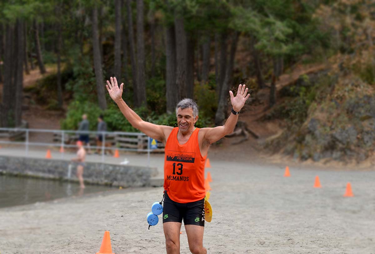 Racers, volunteers and sponsors at the SwimRun Victoria at Thetis Lake Victoria in 2018
